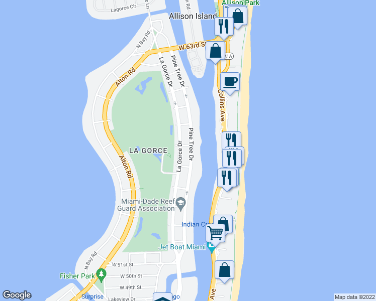 map of restaurants, bars, coffee shops, grocery stores, and more near 5660 Pine Tree Drive in Miami Beach