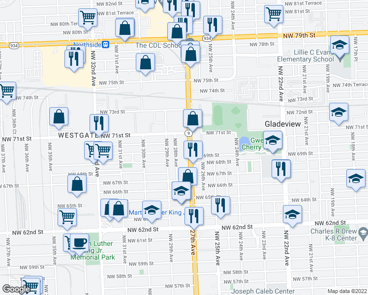 map of restaurants, bars, coffee shops, grocery stores, and more near 6940 NW 27th Ave in Miami