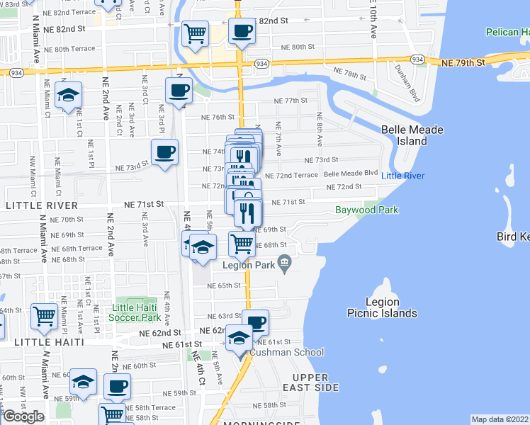 map of restaurants, bars, coffee shops, grocery stores, and more near 665 Northeast 70th Street in Miami