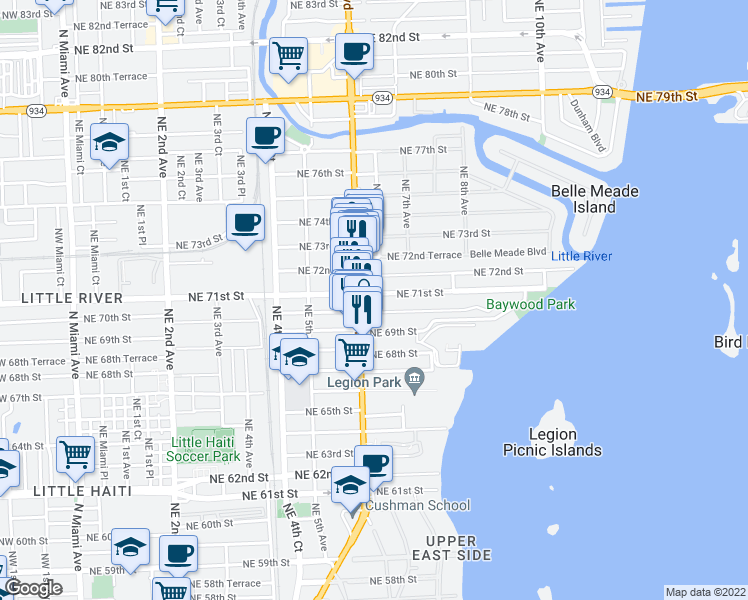 map of restaurants, bars, coffee shops, grocery stores, and more near 634 Northeast 71st Street in Miami