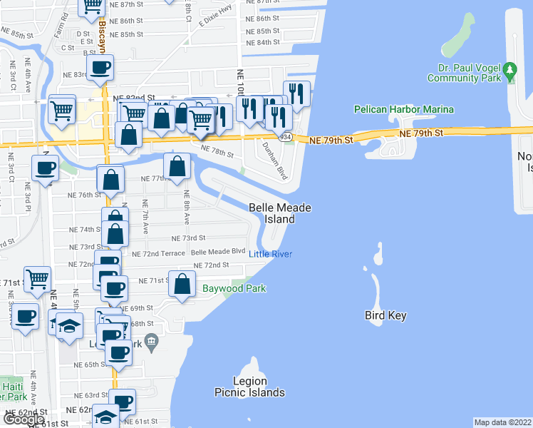 map of restaurants, bars, coffee shops, grocery stores, and more near 1100 Belle Meade Island Drive in Miami