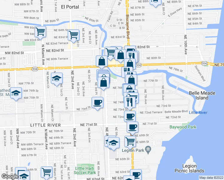 map of restaurants, bars, coffee shops, grocery stores, and more near 460 Northeast 76th Street in Miami