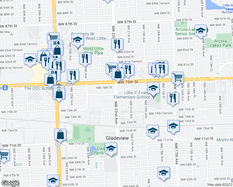 map of restaurants, bars, coffee shops, grocery stores, and more near 7725-7759 Northwest 22nd Avenue in Miami