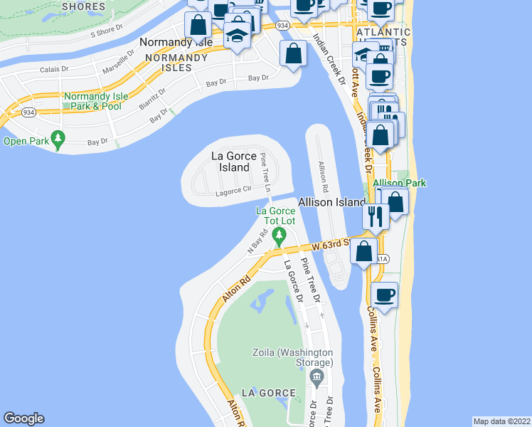 map of restaurants, bars, coffee shops, grocery stores, and more near 6466 North Bay Road in Miami Beach