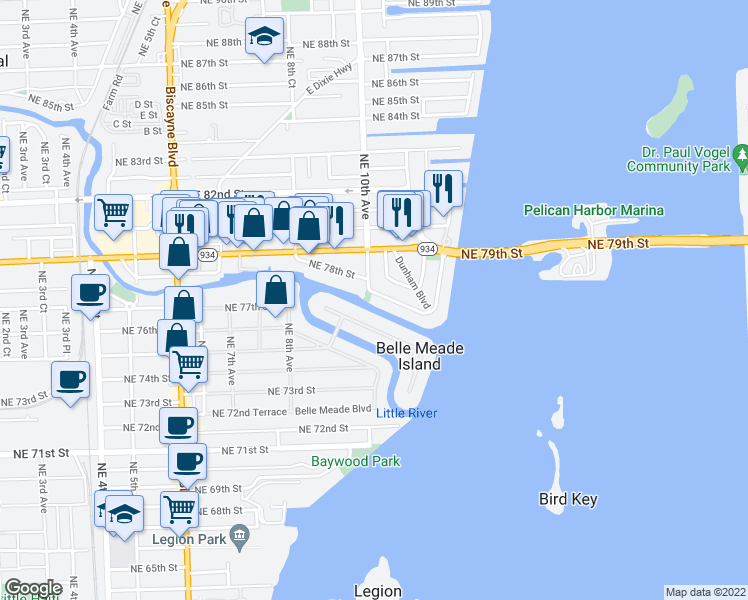 map of restaurants, bars, coffee shops, grocery stores, and more near 1000 Northeast Little River Drive in Miami