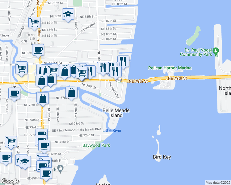 map of restaurants, bars, coffee shops, grocery stores, and more near N Bayshore Dr & NE 78th Street Rd in Miami