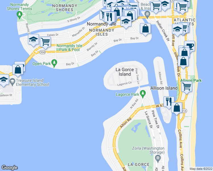 map of restaurants, bars, coffee shops, grocery stores, and more near 34 Lagorce Circle in Miami Beach
