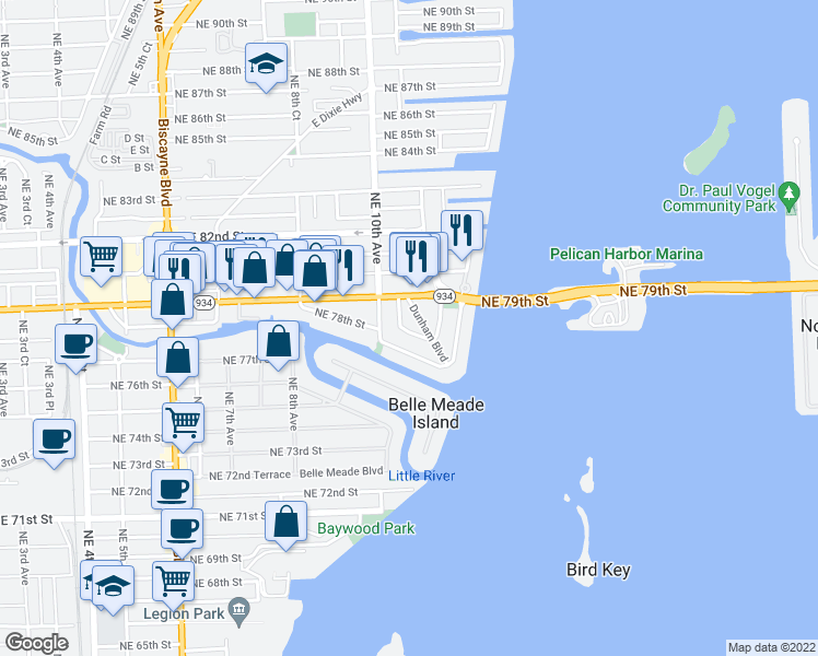 map of restaurants, bars, coffee shops, grocery stores, and more near 1025 Northeast 78th Street Road in Miami