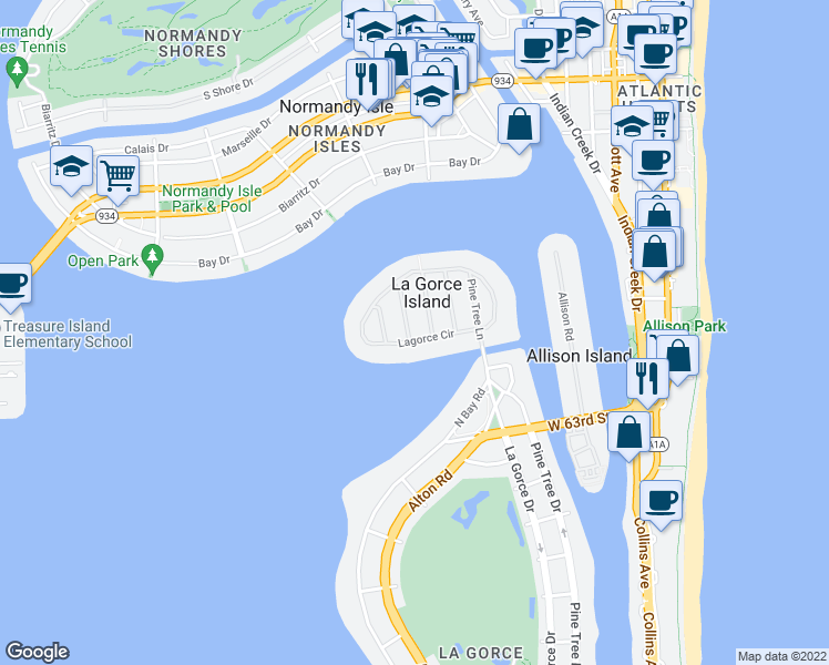 map of restaurants, bars, coffee shops, grocery stores, and more near 17 Lagorce Circle in Miami Beach