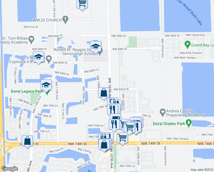 map of restaurants, bars, coffee shops, grocery stores, and more near NW 107th Ct in Doral