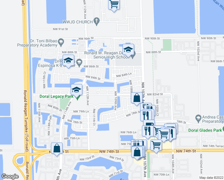 map of restaurants, bars, coffee shops, grocery stores, and more near Northwest 83rd Street in Doral