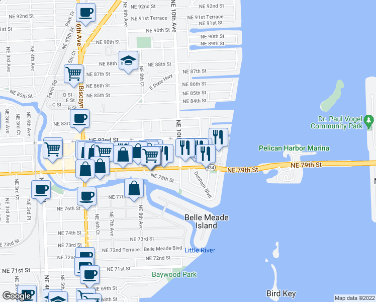 map of restaurants, bars, coffee shops, grocery stores, and more near 1030 Northeast 81st Street in Miami
