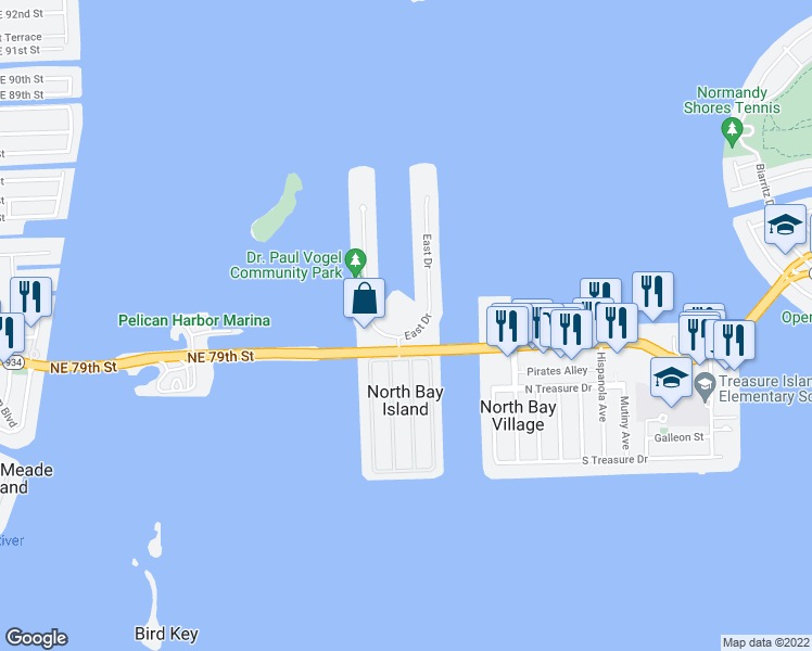 map of restaurants, bars, coffee shops, grocery stores, and more near 7900 Harbor Island Drive in North Bay Village