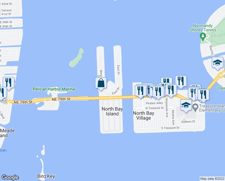 map of restaurants, bars, coffee shops, grocery stores, and more near 7918 Harbor Island Drive in North Bay Village