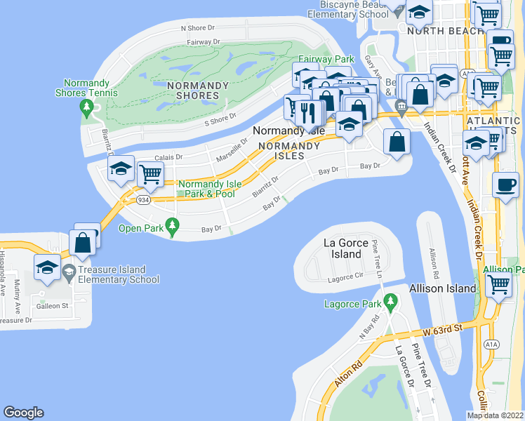 map of restaurants, bars, coffee shops, grocery stores, and more near Bay Drive in Miami Beach
