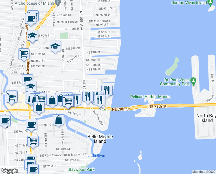 map of restaurants, bars, coffee shops, grocery stores, and more near 1236 Northeast 82nd Street in Miami
