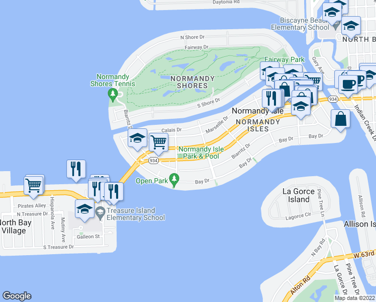 map of restaurants, bars, coffee shops, grocery stores, and more near 1770 Normandy Dr in Miami Beach