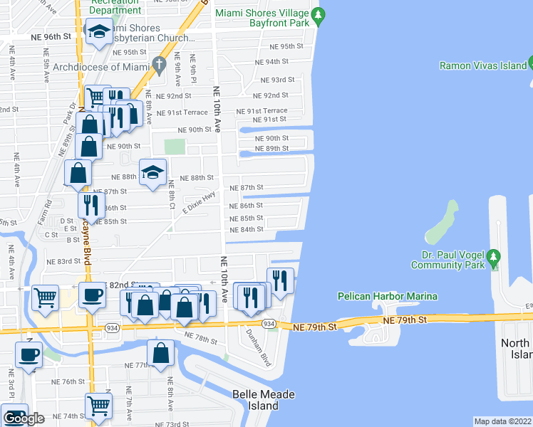 map of restaurants, bars, coffee shops, grocery stores, and more near 1201 Northeast 85th Street in Miami