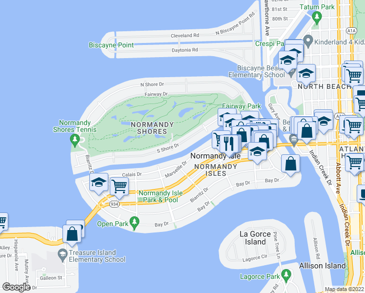 map of restaurants, bars, coffee shops, grocery stores, and more near 530 South Shore Drive in Miami Beach