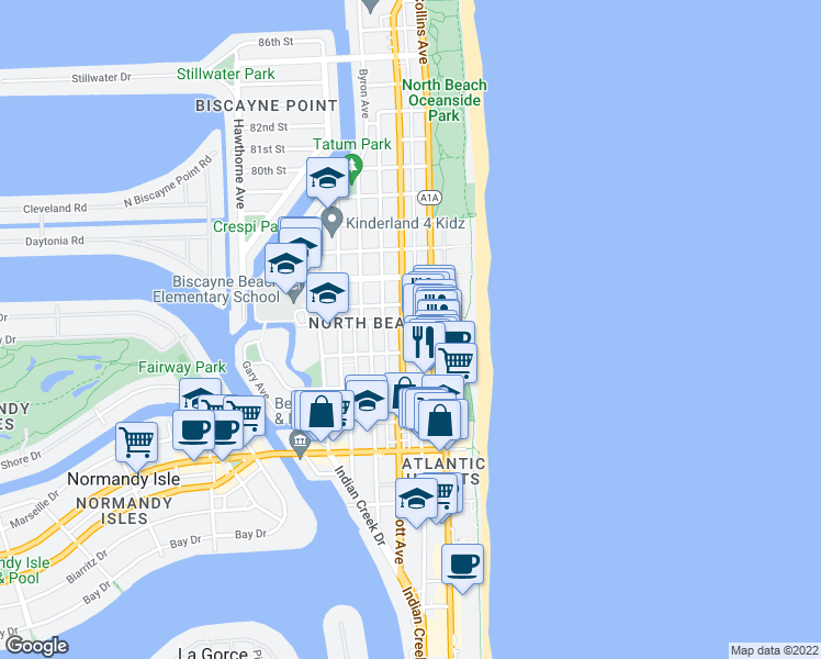 map of restaurants, bars, coffee shops, grocery stores, and more near 7435 Harding Avenue in Miami Beach