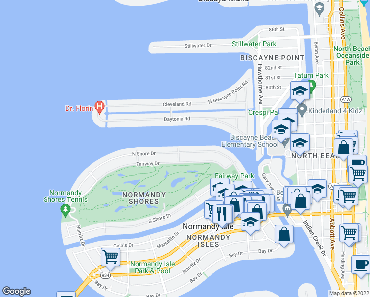map of restaurants, bars, coffee shops, grocery stores, and more near 425 North Shore Drive in Miami Beach