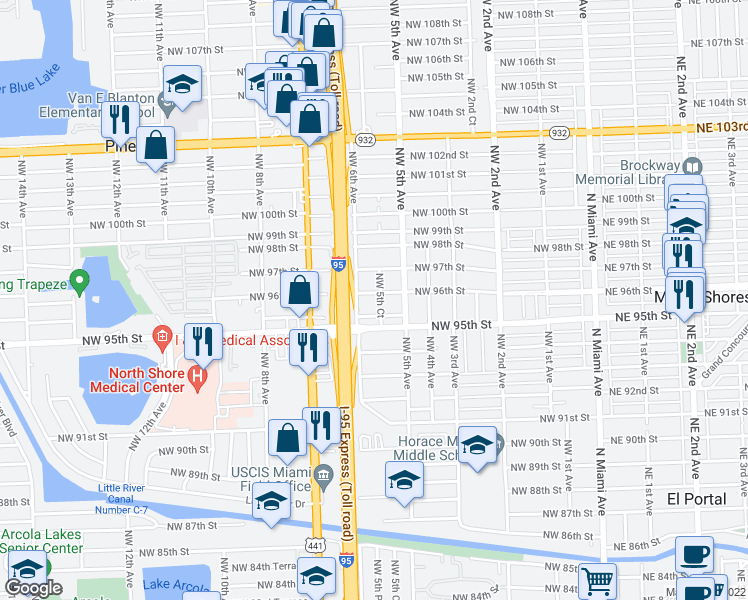 map of restaurants, bars, coffee shops, grocery stores, and more near 560 Northwest 96th Street in Miami