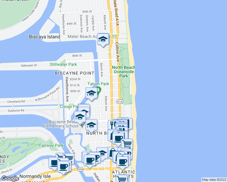 map of restaurants, bars, coffee shops, grocery stores, and more near 8041 Harding Avenue in Miami Beach