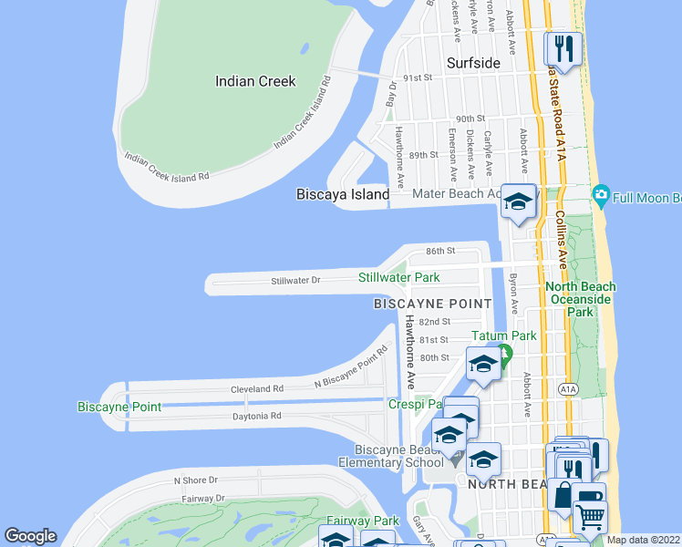 map of restaurants, bars, coffee shops, grocery stores, and more near 1110 Stillwater Dr in Miami Beach