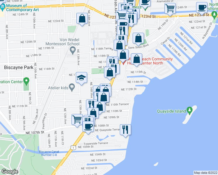 map of restaurants, bars, coffee shops, grocery stores, and more near Biscayne Blvd in Miami