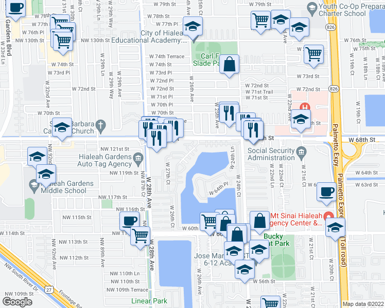 map of restaurants, bars, coffee shops, grocery stores, and more near 6605 West 26th Court in Hialeah