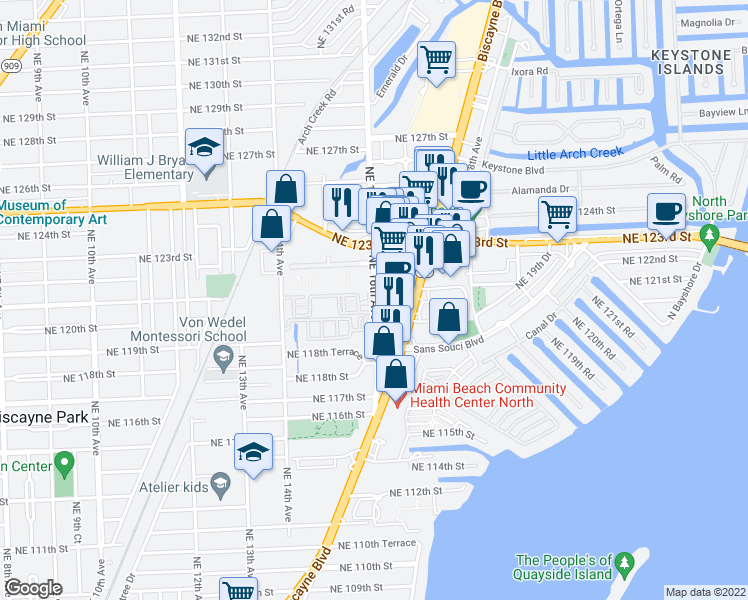 map of restaurants, bars, coffee shops, grocery stores, and more near 12040 Northeast 16th Avenue in Miami