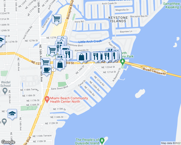 map of restaurants, bars, coffee shops, grocery stores, and more near 2150 Sans Souci Boulevard in North Miami