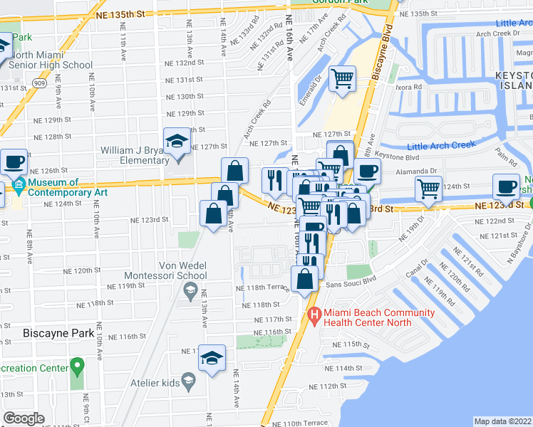 map of restaurants, bars, coffee shops, grocery stores, and more near in North Miami