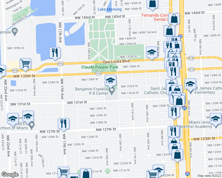 map of restaurants, bars, coffee shops, grocery stores, and more near 13100 NW 12th Ave in North Miami