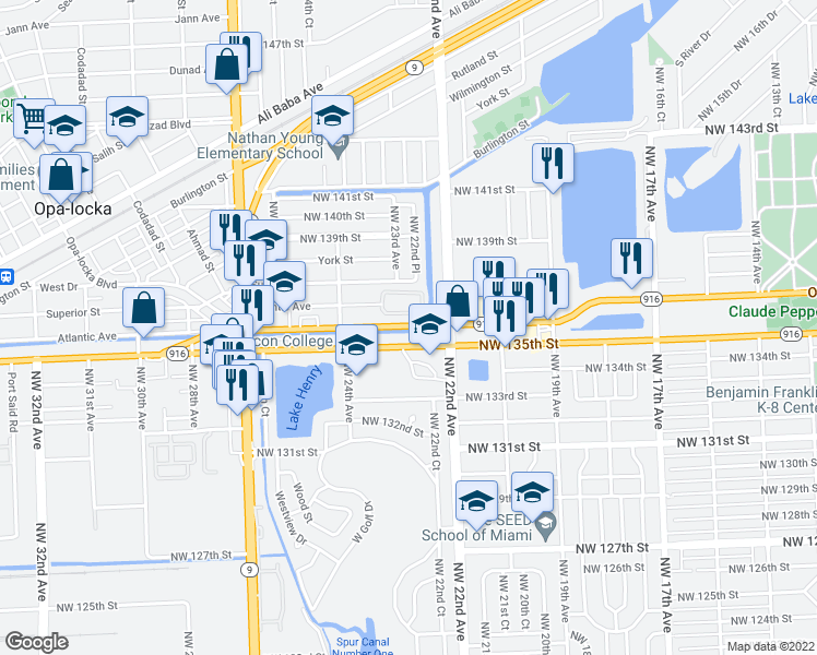 map of restaurants, bars, coffee shops, grocery stores, and more near 2297 Opa Locka Blvd in Opa-locka