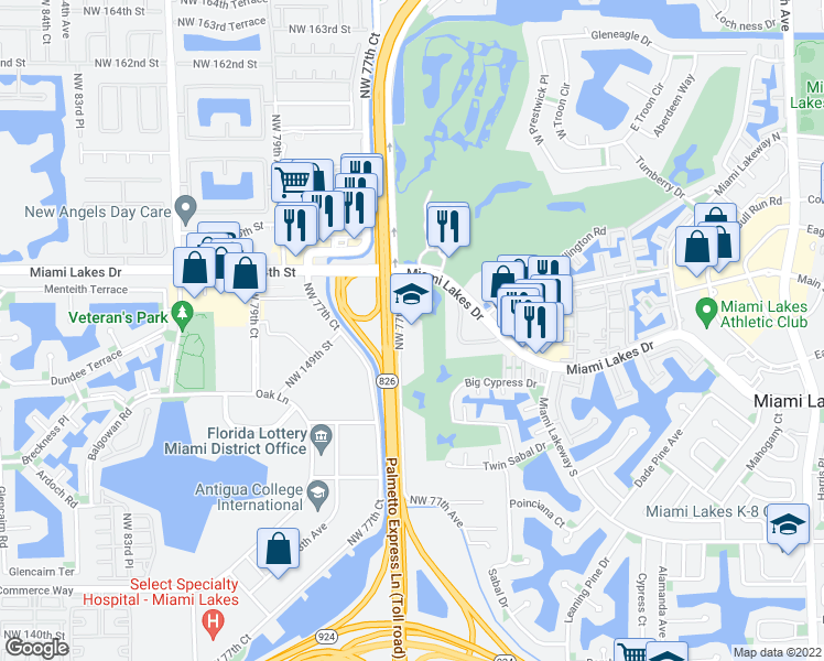 map of restaurants, bars, coffee shops, grocery stores, and more near 15165 Northwest 77th Avenue in Hialeah