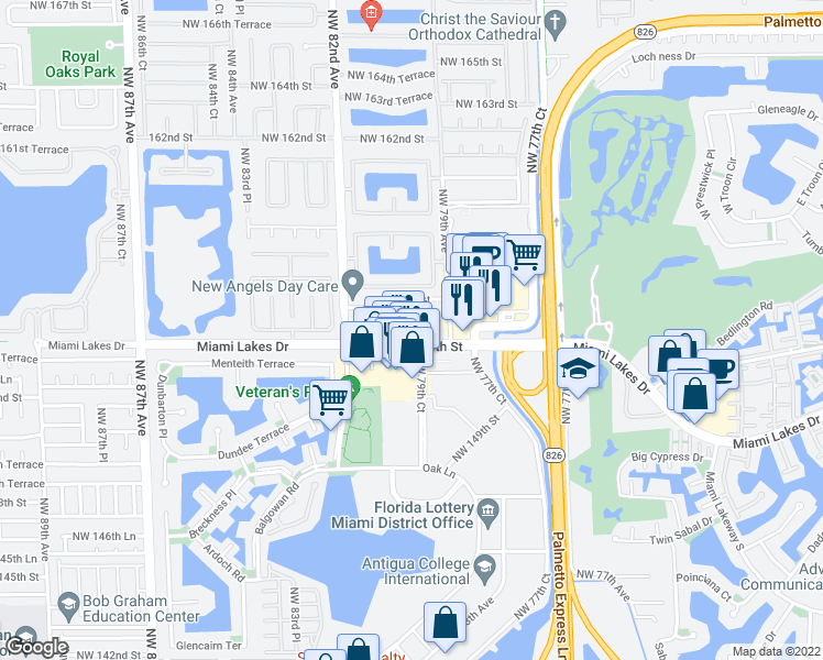 map of restaurants, bars, coffee shops, grocery stores, and more near 8000 NW 155th St in Hialeah