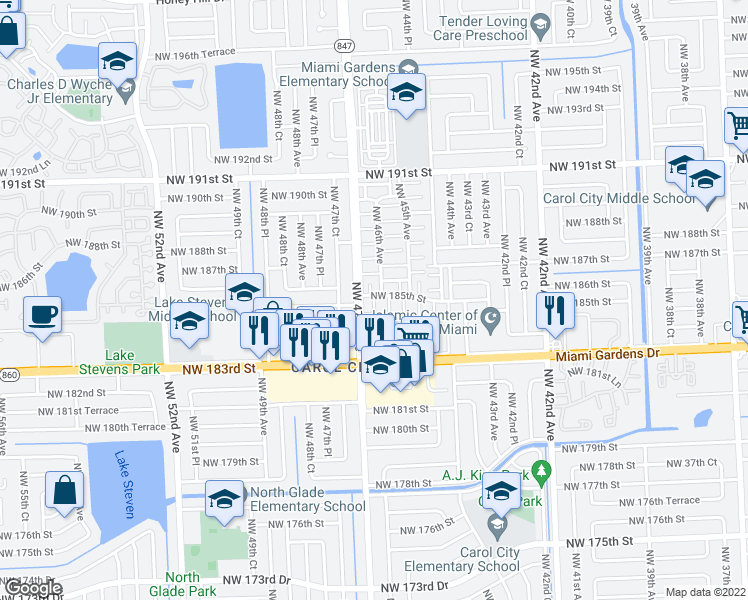 map of restaurants, bars, coffee shops, grocery stores, and more near 4619 Northwest 185th Street in Miami Gardens