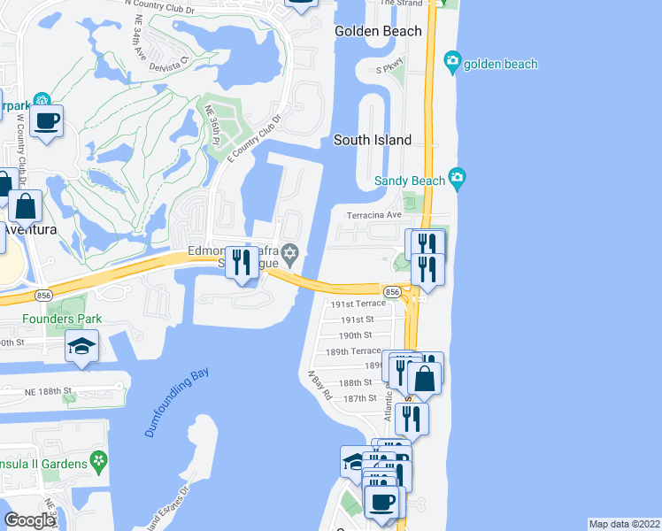 map of restaurants, bars, coffee shops, grocery stores, and more near 19380 Collins Avenue in Sunny Isles Beach