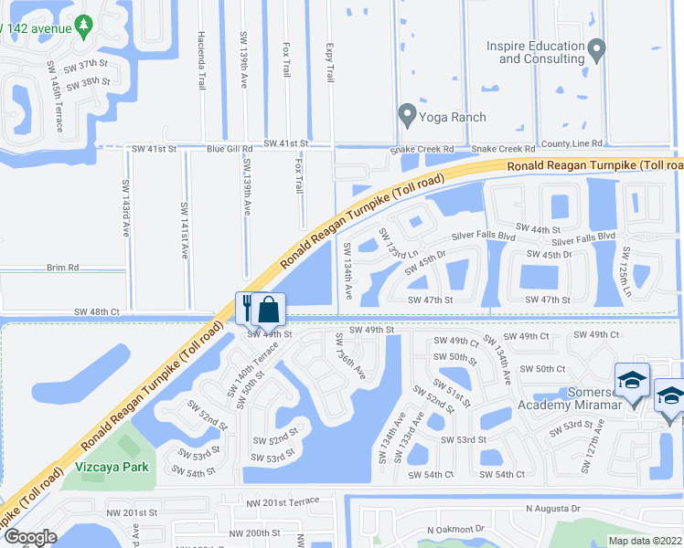map of restaurants, bars, coffee shops, grocery stores, and more near 13376-13398 Southwest 44th Street in Miramar