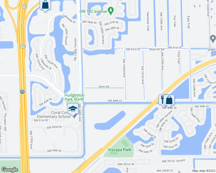map of restaurants, bars, coffee shops, grocery stores, and more near 14301-14799 Brim Road in Miramar