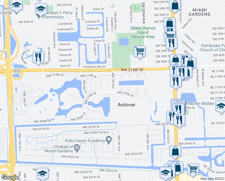 map of restaurants, bars, coffee shops, grocery stores, and more near 701 Northwest 210th Street in Miami