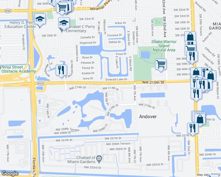 map of restaurants, bars, coffee shops, grocery stores, and more near NW 213th Ln in Miami