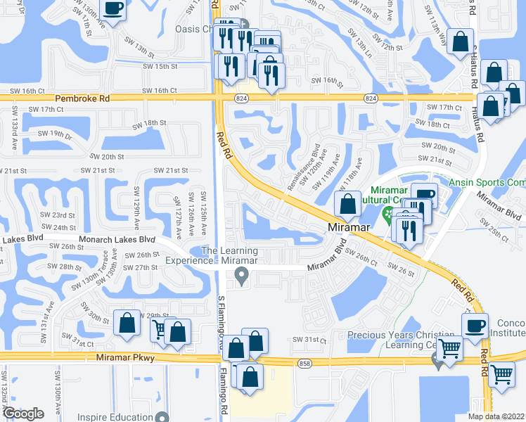 map of restaurants, bars, coffee shops, grocery stores, and more near 2486 Centergate Drive in Miramar