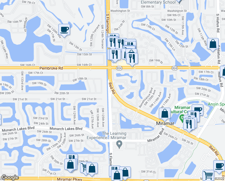 map of restaurants, bars, coffee shops, grocery stores, and more near Red Rd & S Flamingo Rd in Miramar