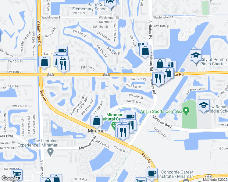 map of restaurants, bars, coffee shops, grocery stores, and more near 2010 SW 115th Terrace in Miramar