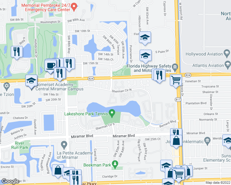 map of restaurants, bars, coffee shops, grocery stores, and more near 8540-8564 Sherman Cir N in Miramar