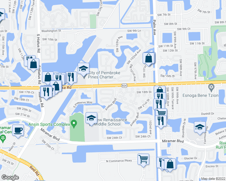 map of restaurants, bars, coffee shops, grocery stores, and more near 10434-10576 Pembroke Rd in Miramar