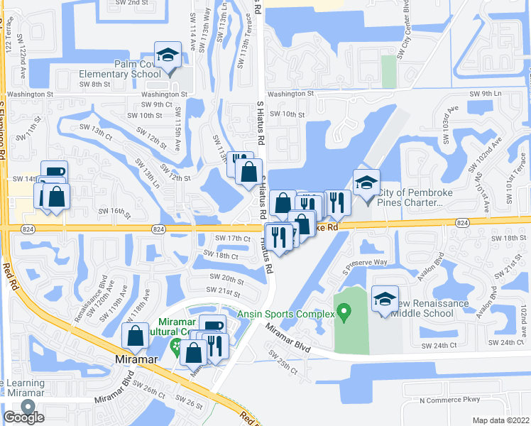 map of restaurants, bars, coffee shops, grocery stores, and more near 1501-1699 South Hiatus Road in Pembroke Pines