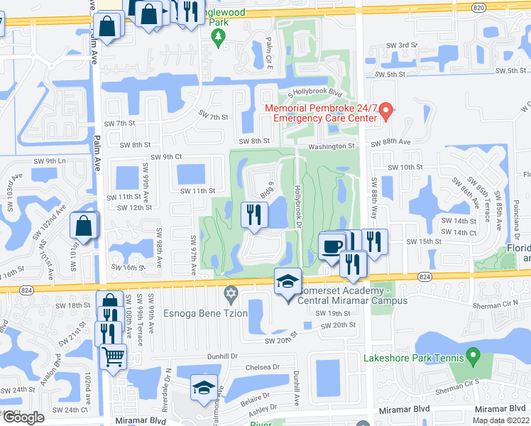map of restaurants, bars, coffee shops, grocery stores, and more near 9823 South Hollybrook Lake Drive in Pembroke Pines